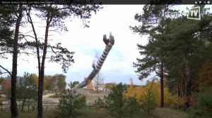 Zburzenie komina w Elanie